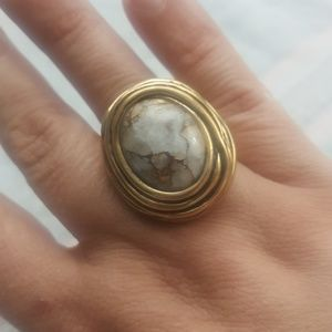 Barse Brass White/Grey/Gold marbled stone Ring